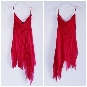 BODY BY VICTORIA Strapless Red Silk Cocktail Dress